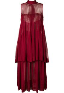 Rochas Vestido De Seda - Vermelho