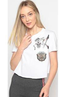 Blusa Cropped Com Bolso - Branca & Cinza Escuro - Mymy Favorite Things