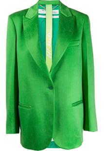 Off-White Blazer Oversized Com Abotoamento Simples - Verde