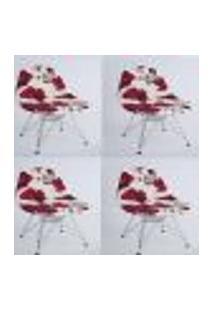 Kit Com 04 Capas Para Cadeira Charles Eames Eiffel Wood Flores Vermelhas Com Branco