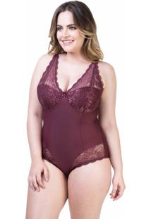 Body Modelador Renda Vinho - 534.051 Marcyn Lingerie Body Vermelho