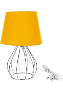 Abajur Cebola Dome Amarelo Com Aramado Cromado - Amarelo - Dafiti
