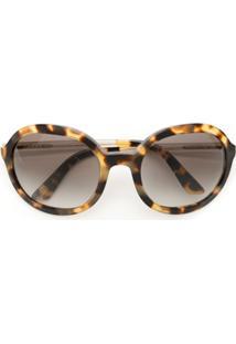 Prada Eyewear Óculos De Sol Arredondado - Estampado