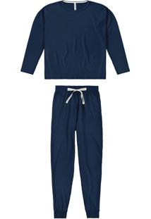 Pijama Longo Em Moletinho Malwee Liberta
