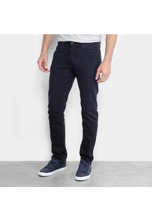 Calça Slim Calvin Klein Color Sarja Masculina - Masculino-Azul Escuro