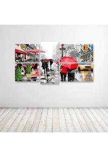 Quadro Decorativo - City Red Umbrella - Composto De 5 Quadros