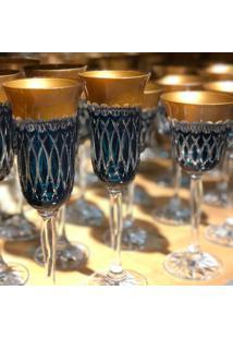 Taça De Cristal Lodz Para Champanhe De 150 Ml - Turquesa E Dourada