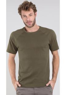 Camiseta Masculina Maquinetada Manga Curta Raglan Gola Careca Verde Militar