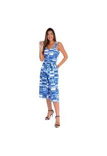 Macacão Pirony Pantacourt Est. Tye Dye Azul Botões Na Frente Faixa Ref. 116854-6