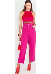 Blusa Cropped De Tricot Vermelho Vermelho