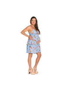Vestido Gestante Com Babado Alça Fina Estampa Floral Fundo Azul