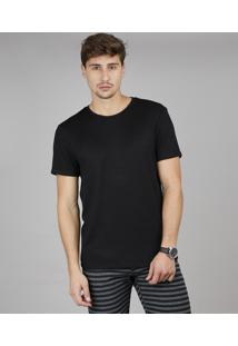 Camiseta Masculina Slim Fit Manga Curta Gola Careca Preta