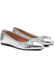 Sapatilha Shoestock Matelassê Bico Fino Feminina - Feminino-Prata
