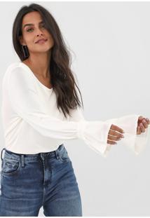 Blusa Dzarm Canelada Off-White - Off White - Feminino - Viscose - Dafiti