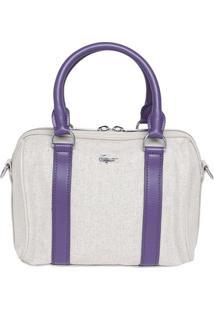 Bolsa Com Linho & Recortes - Bege & Roxa - 33X24X15Clacoste