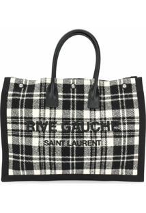 Saint Laurent Bolsa Tote Xadrez Rive Gauche - Preto