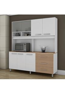 Cozinha Viena 5 Portas Branco/Nogueira - Fama Móveis