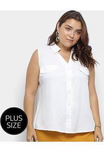 Blusa Regata Heli Plus Size C/ Botões Feminina - Feminino-Branco