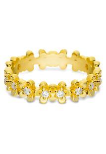 Anel Life Flores Miosótis Com Banho Ouro Amarelo