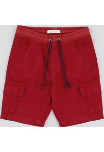 Bermuda De Sarja Infantil Cargo Com Bolsos E Cordão Vermelha