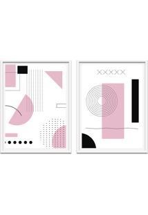 Quadro 67X100Cm Oppen House Formas Geométricas Liberté Rosa Moldura Branca Sem Vidro