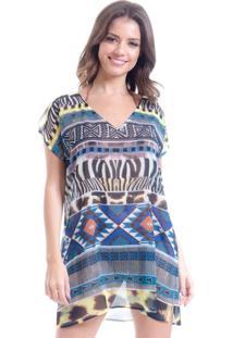 Blusa 101 Resort Wear Tunica Decote V Crepe Estampado