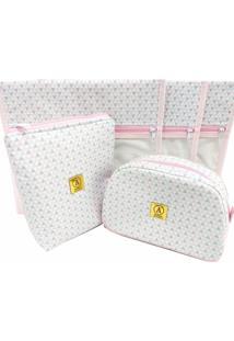 Kit Maternidade Triângulos Rosa Com Cinza - 3 Saquinhos E 2 Necessaires