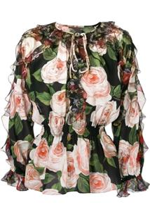Dolce & Gabbana Rose Print Blouse - Preto