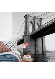 Painel Fotográfico Adesivo Brooklyn Preto E Branco 1,22M X 2,6M Grudado Adesivos