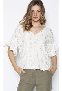 Blusa Com Bordado Floral - Branca & Dourada - Mobmob