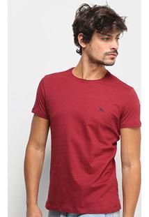 Camiseta Acostamento Lobo Costas Manga Curta Masculina - Masculino-Vinho