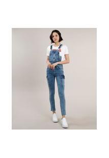 Macacão Jeans Feminino Cargo Azul Médio