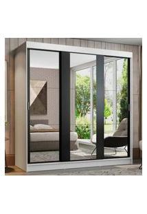 Guarda-Roupa Casal Madesa Reno 3 Portas De Correr De Espelho Branco/Preto Cor:Branco/Preto