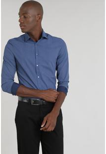 ... Camisa Masculina Slim Estampada Mini Print Manga Longa Azul Marinho 9aef3c8ccf77e