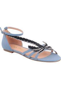 Sandália Rasteira Com Tiras - Azul Claro & Pretaluiza Barcelos