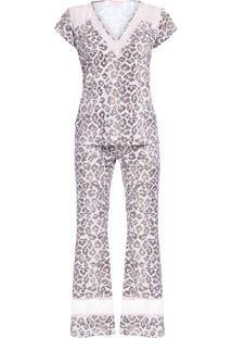 Pijama Feminino Fluity Onça - Animal Print