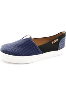Tênis Slip On Quality Shoes Feminino 002 Trissiê Azul Marinho/Preto 37