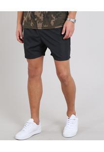 Short Masculino Com Bolso Preto