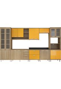 Cozinha 8 Módulos 17 Portas 5 Gavetas Argila E Amarelo Multimóveis