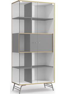Cristaleira 2 Portas De Vidro Branco E Cinza De Madeira Kappesberg