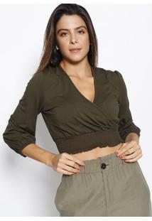 Blusa Cropped Com Transpasse - Verde Militar - Sommesommer