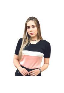 Blusa Pink Tricot De Tricô Modal Com Manga Curta E Estampa Listrada Feminina