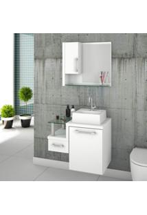 Gabinete Para Banheiro Com Cuba Quadrada Q32 E Espelheira Com Porta Legno 630W Compace Branco/Branco Chess