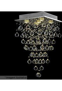 Plafon Tyrell Quadrado- Cristal- 64X37Cm- Bivolthevvy
