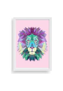 Quadro Love Decor Decorativo Com Moldura Abstrato Lion Branco