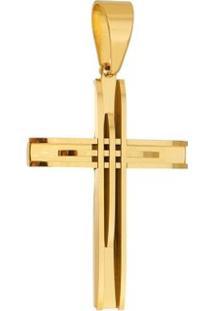 Pingente Cruz Tudo Joias Dourada De Aço Inox - Unissex-Dourado