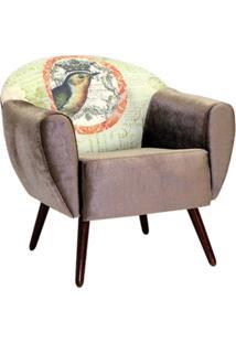 Poltrona Domi Decorativa Nina Print Bird Castanho