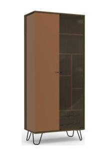 Cristaleira Pivotante Kappesberg Po600 Pop 1 Porta De Vidro Jacarandá Com Terracota