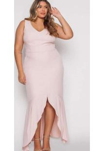 Vestido Almaria Plus Size Pianeta Longo Crepe Rosa