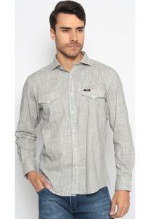 Camisa Chambray Com Bolsos- Off White & Cinzawrangler
